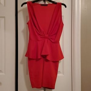 Bold red peplum cocktail dress